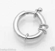 14mm X 3mm Shiny Spring Ring Senora Clasp Real 14K White Gold 1.6gr
