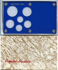 Capital Plastics Anniversary Year 6-Coin Holder Cent to Small Dollar 26.5mm Blue