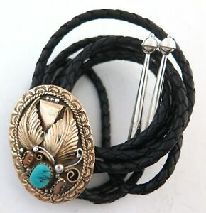 Gold Hued Sterling Silver with Turquoise & Coral Ornate Bolo Tie