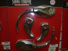 CRUISER RISERS WITH MIRRORS TWISTED SHOW CHROME SPL8102