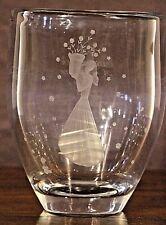 ORREFORS engraved mid century crystal vase Signed 1946 Art Deco glass original
