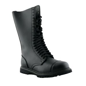 Grinders King Black Leather Boots 20 Eye Hole Steel Toe Cap Military Punk