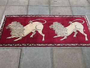 Vintage Traditional Hand Made Oriental Gabbe Wool Red Runner 206x82 Animal Lion