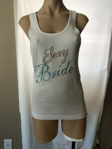 """NWT Victoria's Secret """"Sexy Bride"""" Ribbed Bling Tank Top White, Large"""