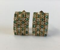 14ct / 14K Yellow Gold CZ & Emerald Set Cluster Earrings 1.7cm In Length
