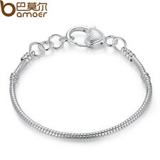 Fit European Charm Bead Jewelry Luxury Silver Snake Chain Bracelet Heart Buckle