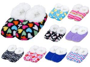 Warm & Kuschelig Haus-Schuhe Snoozies Puschen gefütterte Damen Hausschuhe Motiv