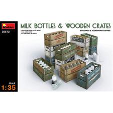 MILK BOTTLE & WOODEN CRATES KIT 1:35 Miniart Kit Diorami Die Cast Modellino