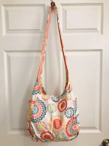 Thirty One Womens White Pink Blue Hand Bag Tote Purse Spring Summer