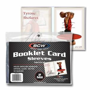 (50-Pack) BCW Vertical Booklet Trading Card Sleeves Fits Book Card Toploaders