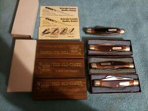 4 VINTAGE SCHRADE 340T &330T OLD TIMER POCKET KNIFE LOT WITH CASE