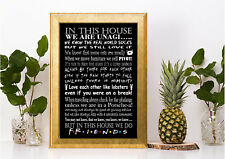 In this house we do Friends tv series quote poster print A4 gift black white