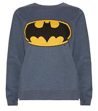 UFFICIALE Batman WOMEN'S Felpa Taglia 10 Nuovo con Etichetta Blu Top Jumper bat segnale logo