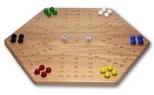 "Solid Oak Double-sided 20"" Aggravation (Wahoo) Board Game Set"