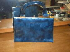 Vtg 1950s Berne of CA Kelly Bag Purse~Rockabilly~Shiny Blue Marble Patent Vinyl