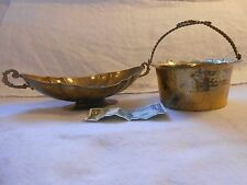 2 Hammered Brass Dishes/Bowls Lovely and Intricate made in India