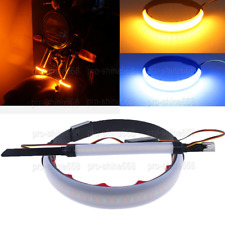 Amber 3K Blue LED Turn Signal Bike Blinker Fit Motorcycle DRL Strips 45mm-70mm