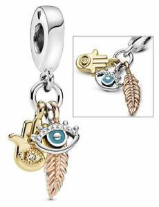 Genuine Pandora Hamsa All-seeing Eye Feather Spirituality Dangle Charm 768785C01
