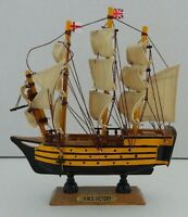 WOODEN MODEL HMS VICTORY GALLEON SHIP NAUTICAL
