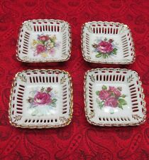 """VINTAGE BRINNCO SET OF 4 PIERCED OPENWORK MINT/CANDY DISHES W/ ROSES 4"""" SQUARE"""