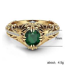 Green + Anillo Laminado en Oro Anillos De Compromiso Esmeralda Vintage para Mujer Joyería Fina