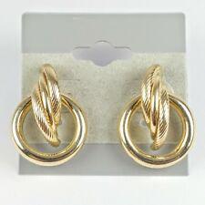 "14K Yellow Gold Textured Swirl Polished Circle 7/8"" Drop Earrings 3.6g"