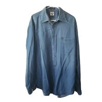 Faconnable Long Sleeve Blue Denim Button Down Shirt Mens Size Large