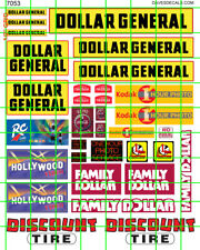 7053 DAVE'S DECALS BUSINESS SET HO SCALE DISCOUNT DOLLAR STORE 1 Hr PHOTO SIGNS