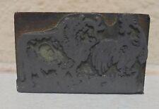Vintage Bull & Rooster Logo Metal & Wood Letterpress Printing Block