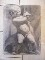 Antoine Jallat Fusain Enfant à l'Oie Ecole des Beaux Arts de St Etienne 1928