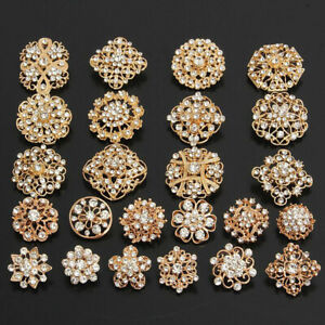 24Pcs/Lot Mixed Brooch Vintage Style Golden Rhinestone Crystal Pins DIY Bouquet