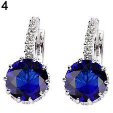 Simple & Elegant 925 Sterling Silver SAPPHIRE BLUE Crystal Hoop Earrings Jewelry