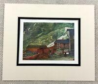1905 Antique Print Sundal Norway Norwegian Village House Cabin Painting