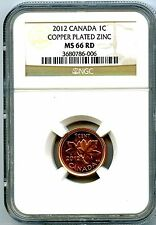 2012 CANADA CENT NGC MS66 RD NON MAGNETIC ZINC HIGH GRADE LAST YEAR OF ISSUE
