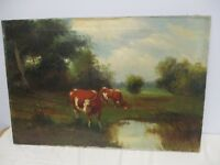 """ANTIQUE SIGNED VIT.... OIL ON CANVAS PAINTING OF COWS IN PASTURE 30"""" X 20"""""""
