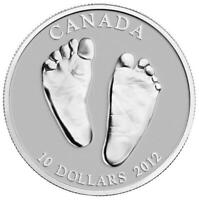 2012 CANADA $10 WELCOME TO THE WORLD Baby Feet 1/2oz Pure Silver Coin RARE