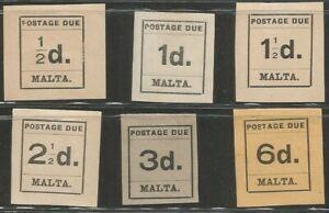 Malta 1925 Postage Due Partial Mint Hinged Set J1-3,5,6,8