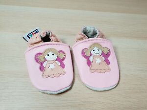 PEX Pink Fairy Pre-walkers Leather Shoes 0-6 Months Moccasin Style - New