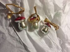 "VINTAGE Lot of 3 Mercury Glass Painted Acorn Christmas Ornaments - 2"""