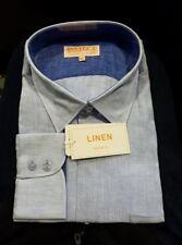 NWT INSERCH MENS 100% LINEN LONG SLEEVE DRESS SHIRT - 3XL - BLUE