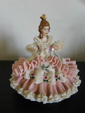Dresden China Pink Rose Lace Sitting Girl Figurine