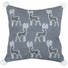 "Paoletti 'Christmas Reindeer' Embellished Cushion Cover - Grey (20"" x 20"")"