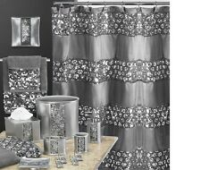 Sinatra Fancy Fabric shower curtain sequin border in silver