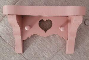 Vintage Wooden Key Holder hook shelf Heart Cutouts Wall Hanging pink