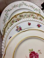 4 Vintage Mismatched China Dinner Plates Wedding Boho Event Mix Match # 88t