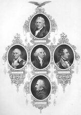 Revolutionary War Generals GATES CLINTON SCHUYLER  ~ 1870 Art Print Engraving