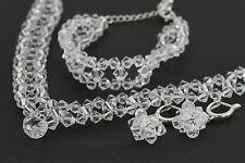 Mit SWAROVSKI Perlen Braut Collier Halskette Ohrringe Armband Hochzeit Set