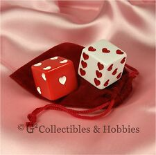 New 2 Sweetheart Dice & Bag Jumbo 25mm 1 inch D6 Red White Hearts Pair Valentine