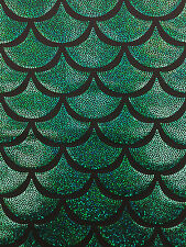 Green Spandex Lycra Mermaid big Fish Scale Hologram Fabric Sold By The Yard