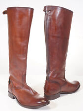 Frye Melissa Button Women Brown Cognac Leather Back Zip Tall Riding Boots